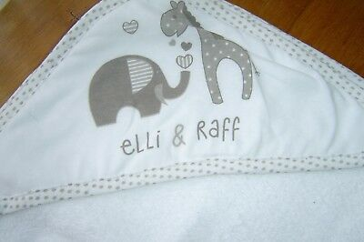 Elli & Raff Baby  Hooded Bath Towel/ Robe/Cuddle.  100% Cotton.