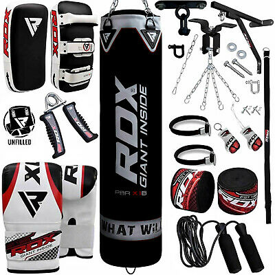 RDX Unfilled Punching Bag Set Boxing Pads Punch MMA Training Mitts Gym Kicking A