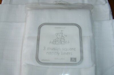 3 Pack 100% Naturally Soft Cotton.  Muslin Squares/Burp cloths/ Wipes/Liners