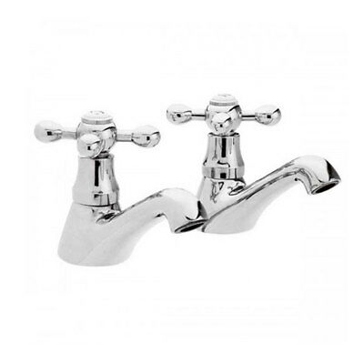 Traditional Chrome Basin Taps Pair with Cross Head Handles for Bathroom *V