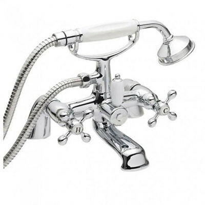 Deck Mounted Traditional Cross Head Handles Chrome Bath Shower Mixer Tap *V