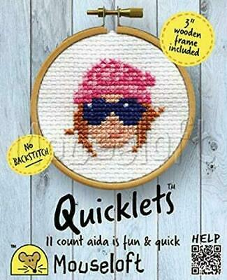 Mouseloft Mini Cross Stitch Kit - Beanie, Quicklets Collection With 3'' Wooden F