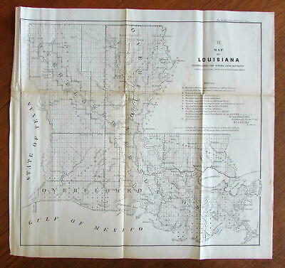 Louisiana 1856 old state map McCulloh Surveys Duval lithographed