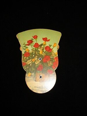 Vintage Advertising Tri-Fold Paper Fan~ Decorated with Red & Yellow Rose Bouquet