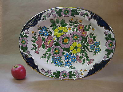 Large Vintage Ceramic Wall Plate ~ Fatima Portugal ~ Hand Painted Flowers