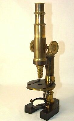 old rare antique brass MICROSCOPE