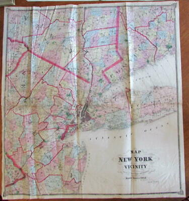 New York city & Vicinity 1867 Beers huge old map litho hand color wall size
