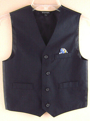 Boys Tuxedo Vest GEORGE 8 Small Blue Striped