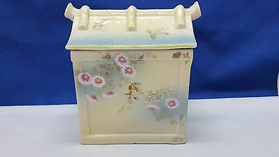 Antique Japanese Moriage Porcelain Biscut Jar Or Tea Very Unusual Excell Cond