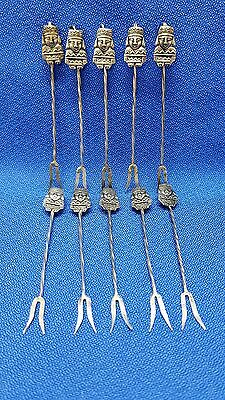 10 Mexican Handmade Silver Cocktail Forks Set That Hook On Glass Edge