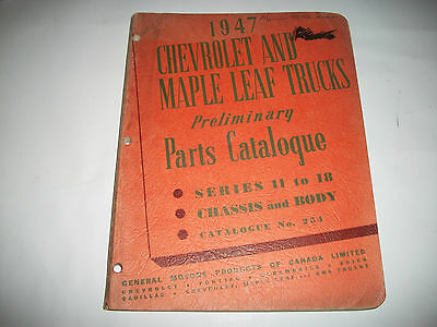 1947 CHEVROLET and  MAPLE LEAF TRUCKS EARLY ISSUE CHASSIS +BODY PARTS CATALOG