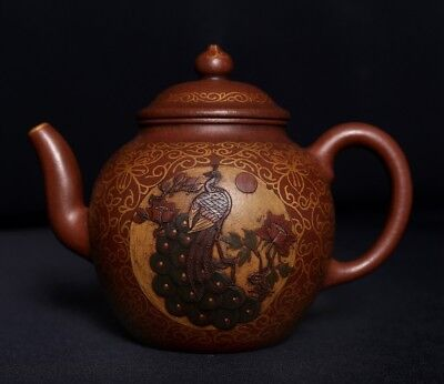 Rare Old Chinese Hand Carved YiXing ZiSha Pottery Purple Sand Teapot PT296