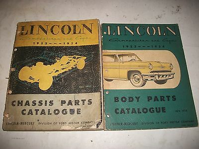 1952 1953 1954 Lincoln Cosmopolitan+Capri Illustrated Chassis+Body Parts Catalog