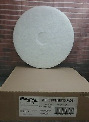 "Carton of 4 Niagara 17"" White Buffing/Polishing Floor Pads #4100N  USA"