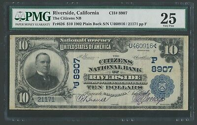Fr626 #8907 $10 1902 The Citizens Nb Of Riverside, Ca Pmg 25 Vf 8 Known Wlm5376