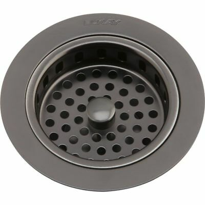 Elkay LKS35AS Drain Fitting Antique Steel Finish Body and Basket with Rubber Sto