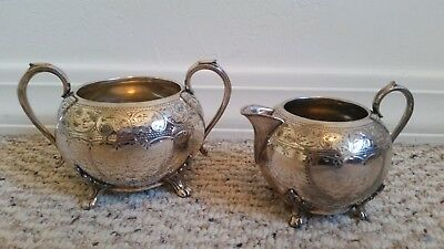 Vintage Antique E.P.B.M Silverplate Creamer and Sugar Bowl Set