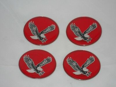 Set Of 4 Red Eagle Bird Wheel Rim Center Cap Round Decal 44Mm Sticker Logo 1.75""