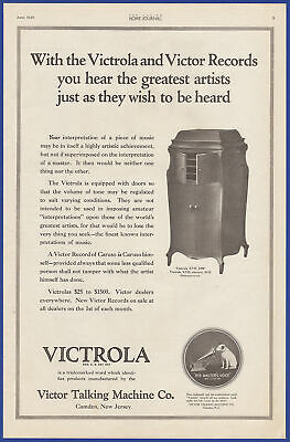 Vintage 1920 VICTOR Victrola Phonograph Talking Machine Model XVII Print Ad 20's