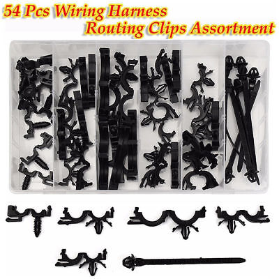 54 pcs 6 types car wire loom routing clips wiring harness fixed 54pcs wiring harness wire loom routing clips assortment convoluted conduit