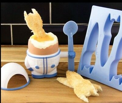 Astronaut Easter Egg Cup Spoon And Toast Cutter Eggstronaut Breakfast Dining Set