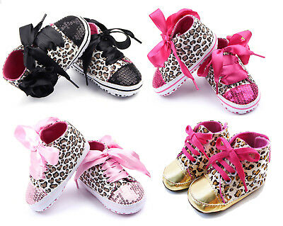 Baby Girls Prewalker Sequin Bling Sneaker Shoes Non Slip Ribbon Lace Up Boots