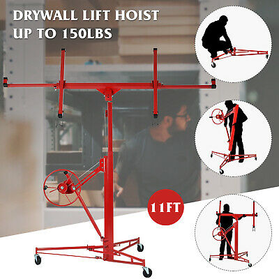 11' Drywall Lift Rolling Panel Hoist Jack Lifter Caster Wheels Lockable Tool Red
