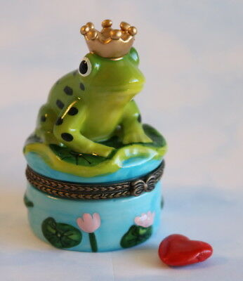 New  Handpainted Fairy Tale Frog Prince Charming Porcelain Hinged Trinket Box