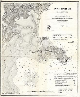 1859 Coastal Survey Map Nautical Chart of Lynn Harbor Massachusetts