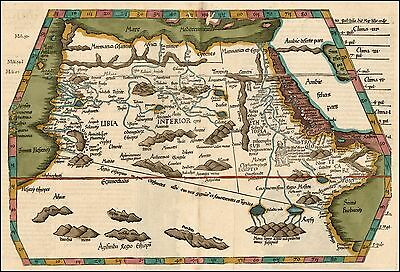 1525 AFRICA very early map Prester John mythcial information Waldseemuller 20640