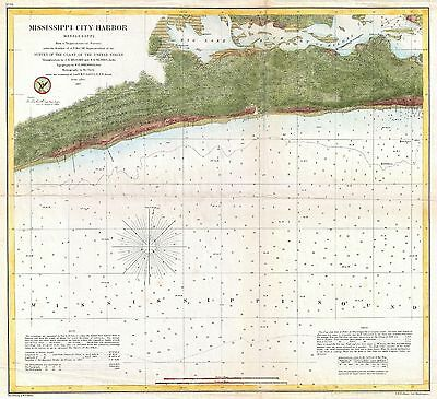 1857 Coastal Survey map Nautical Chart Mississippi City Harbor Mississippi
