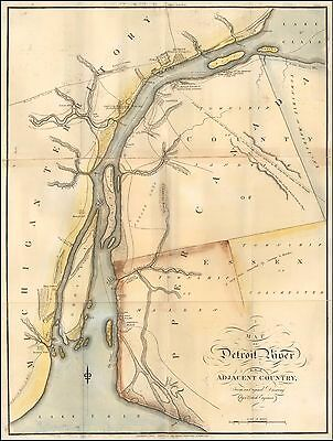 1813 Map Detroit River and the Adjacent Country Atlas POSTER 0130bm