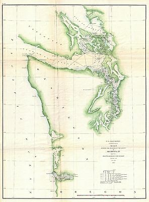 1857 Coastal map Nautical Chart the Washington Coastal Puget Sound Vancouver