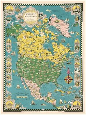 Ernest Dudley Chase pictorial map of North America Greenland 1945 POSTER 53147