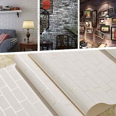 10M Rustic 3D Brick Stone Textured Stripe Vinyl Wallpaper Roll Decal Home Decor