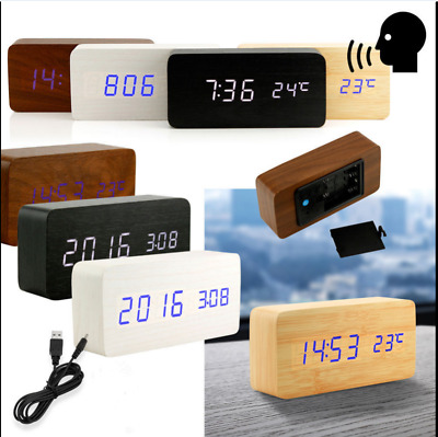 Modern Wooden Wood USB/AAA Digital LED elegant Alarm Clock Calendar Thermometer