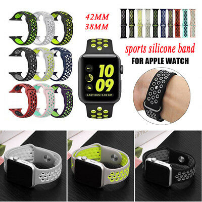 Replacement Silicone Strap Sports Band For Use With Apple Watch IWatch 38mm 42mm