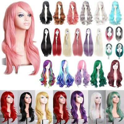 Women Long Hair Full Wig Natural Curly Wavy Straight Synthetic Hair