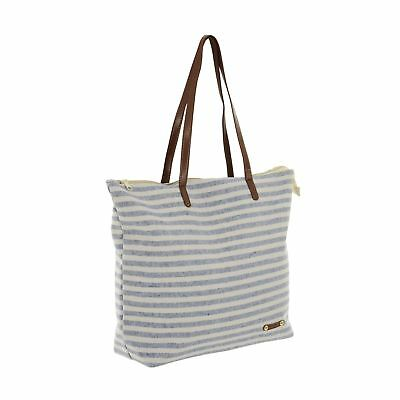 Blue Stripe Canvas Beach Bag Faux Leather Handles Zip Top Holiday Shoulder Tote