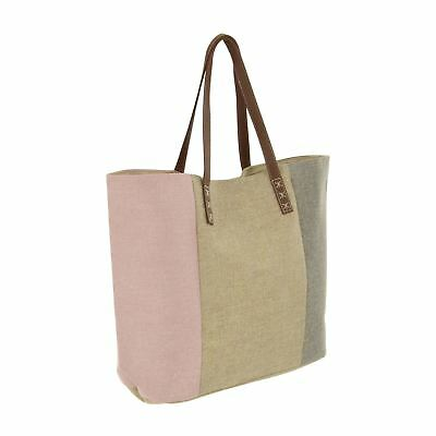 Sparkle Canvas Beach Bag Pink Gold Pewter Stripe PU Leather Handles Holiday Tote