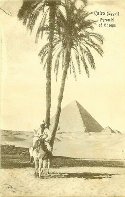 Cpa Egypt Cairo Pyramid Of Cheops Egypte Homme A Dos D'ane Pyramide De Cheops