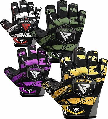 RDX Weight Lifting Training Gym Gloves Workout Body Building Fitness Workout CA