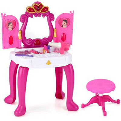 Girls Piano Dressing Table Vanity Mirror Play Set Toy Make Up Desk + Stool Sound
