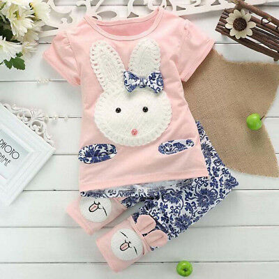 2PC Outfit Set Clothes Baby Girl Short Sleeve T-Shirt Tops & Long Pants Trousers