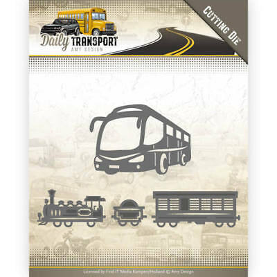 Stanzschablone cutting die Daily Transport Bus Eisenbahn Zug Amy Design ADD10131
