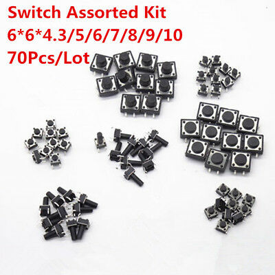 70pcs  6x6x6 mm ON/OFF Touch Button Micro Switch Assorted KIT DIP 4 Pin 6*6*5