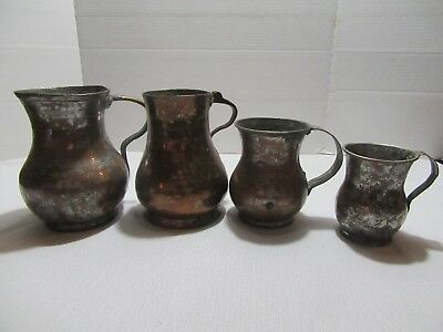 Lot of 4 Old Vintage Antique? Tinned Copper Pitchers Mugs Cups Rustic Primitive