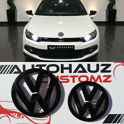 New VW Scirocco Mk3 Front Rear Set Pair Black Gloss Badge Logo Boot Rear Emblem
