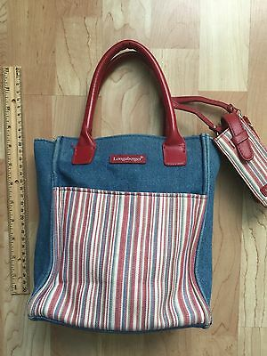 Longeberger Homestead Mini Tote Purse Lunch Bag Denim Canvas Stripped