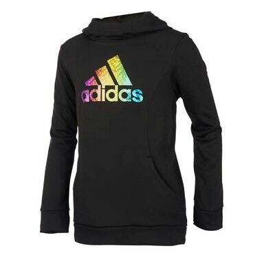 Adidas Childrens Apparel Girls Performance Hoodie Sweatshirt Size Large